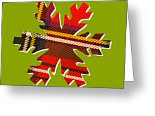 Tartan Snowflake On Green Greeting Card
