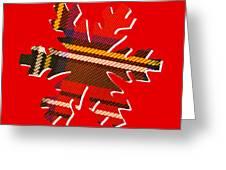 Tartan Snowflake On Red Greeting Card