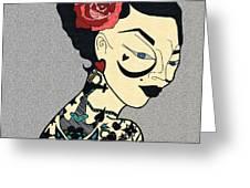 Tattoo Chic Grey Velvet Greeting Card
