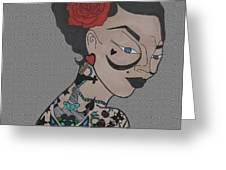 Tattoo Chic Pattern Grey Greeting Card