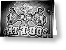 Tattoo Parlor Sign In Rough Neighborhood  Greeting Card