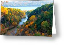 Taughannock River Canyon In Colorful Autumn Ithaca New York Panoramic Photography  Greeting Card