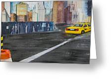 Taxi 9 Nyc Under Construction Greeting Card