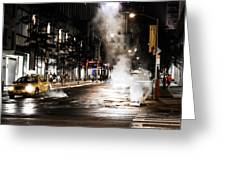 Taxi And Smoke Greeting Card