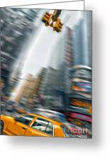 Taxi On Times Square Greeting Card