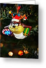 Taz On Christmas Tree Greeting Card by Mike Martin