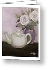 Tea And Roses Greeting Card by Nancy Edwards