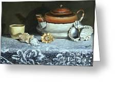 Tea At The Sea Greeting Card