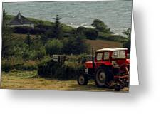 Tea Break Tractor Greeting Card