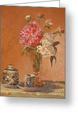 Tea Cup With Peonies Greeting Card