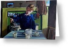 Tea For Three  Me Da Me Ma And Me Greeting Card