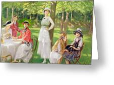 Tea In The Garden Greeting Card