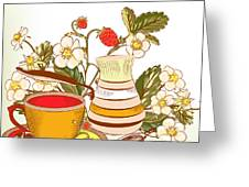 Tea Or Coffee Vector Background With Greeting Card