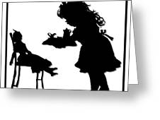 Tea Party Dolly Silhouette Greeting Card