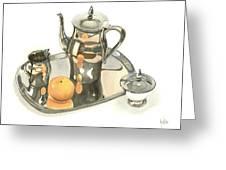 Tea Service With Orange Dramatic Greeting Card