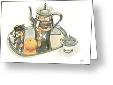 Tea Service With Orange Greeting Card
