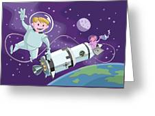 Tea Time Space Walk Greeting Card