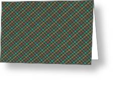 Teal And Green Diagonal Plaid Pattern Fabric Background Greeting Card