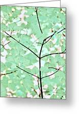 Teal Greens Leaves Melody Greeting Card