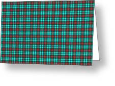 Teal Red And Black Plaid Fabric Background Greeting Card