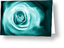 Teal Rose Flower Abstract Greeting Card