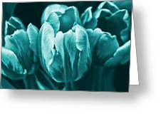 Teal Tulip Flowers Greeting Card