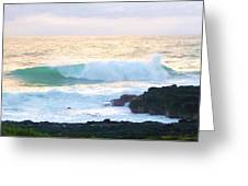 Teal Wave On Golden Waters Greeting Card