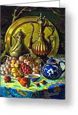 Teapot And Brass Vases Greeting Card