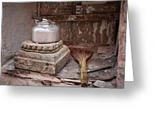 Teapot And Broom Greeting Card