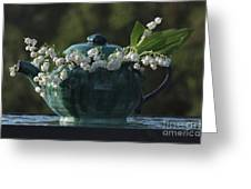 Teapot And Lily Of The Valley Greeting Card