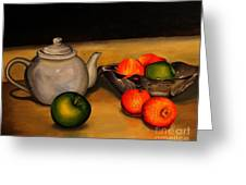 Teapot With Some Fruit Greeting Card
