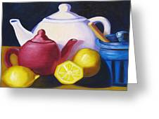 Teapots In Primary Colors Greeting Card