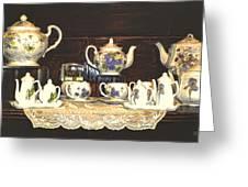 Teapots On Grundge Greeting Card