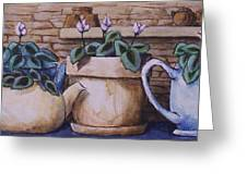 Teapots On Parade Greeting Card