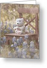 Teddy Bear And Texas Bluebonnets Greeting Card