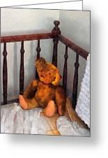 Teddy Bear In Crib Greeting Card