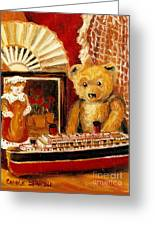 Teddy Bear With Tugboat Doll And Fan Childhood Memories Old Toys And Collectibles Nostalgic Scenes  Greeting Card