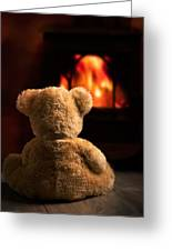 Teddy By The Fire Greeting Card