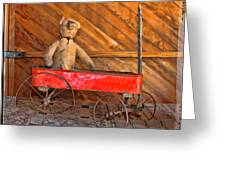 Teddy Takes A Ride Greeting Card