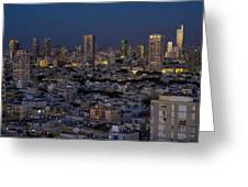 Tel Aviv At The Twilight Magic Hour Greeting Card