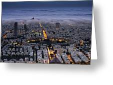 Tel Aviv Under Fog  Greeting Card