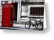 Telephone In London Greeting Card by John Rizzuto