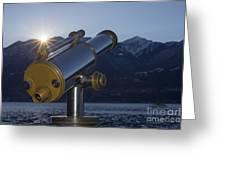 Telescope And Sunrise Greeting Card