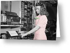 Teletype Girl Greeting Card