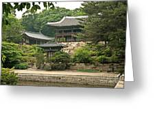 Temple By Lake And Forest Seoul South Korea Greeting Card