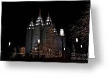 Temple Christmas Lights Greeting Card