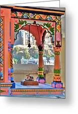 Colorful Temple Entrance - Omkareshwar India Greeting Card