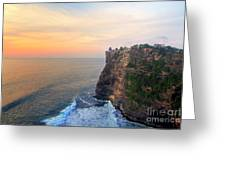 Temple In Uluwatu Bali  Greeting Card