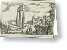 Temple Of Castor And Pollux And The Basilica Of Constantine Greeting Card