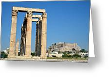 Temple Of Olympian Zeus And Acropolis In Athens Greeting Card